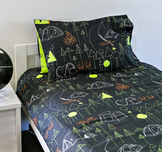 Kids Camping Quilt Cover - Double Size