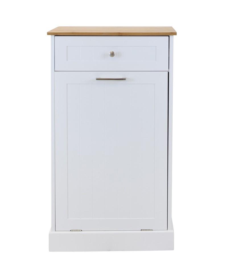 Hampton Microwave Kitchen Cart with Garbage Bin Storage - White