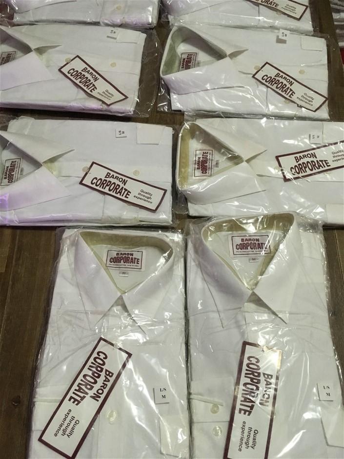 11 x Baron Corporate White Shirts Polyester/Cotton, Size M