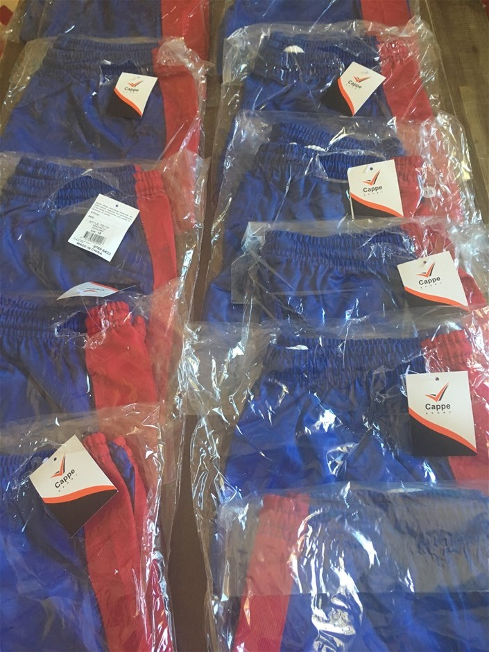 13 x Cappe Sports Shorts, Newcastle, Royal Blue/Red, Size 16
