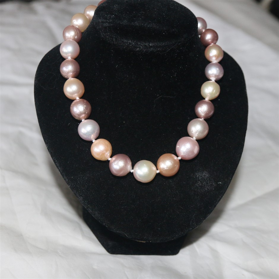 South sea multicolor pearl necklace 18inch with panther clasp