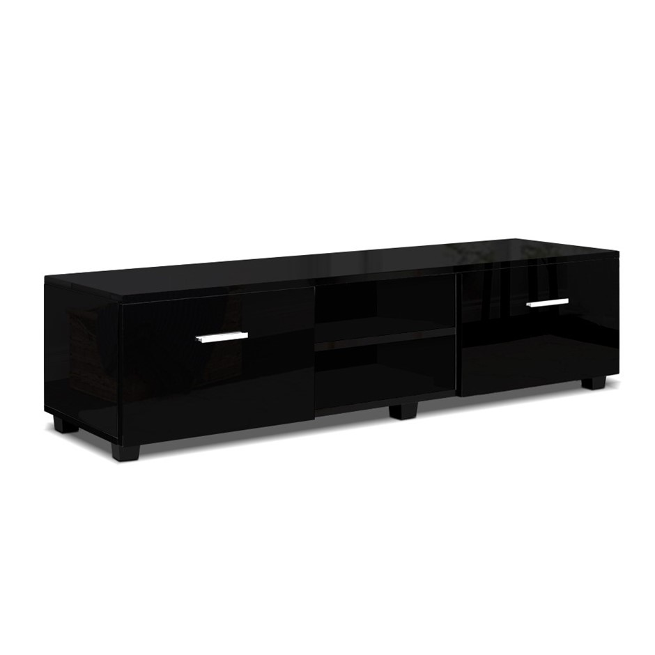 Artiss 140cm High Gloss TV Cabinet Stand Entertainment Unit Storage Black