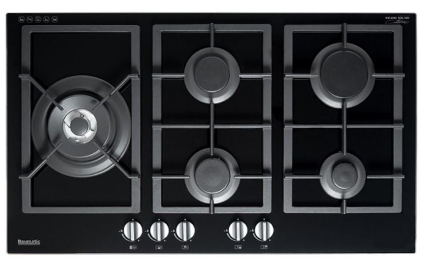 Baumatic Studio Solari BSGH95 90cm Black Glass Natural Gas Cooktop
