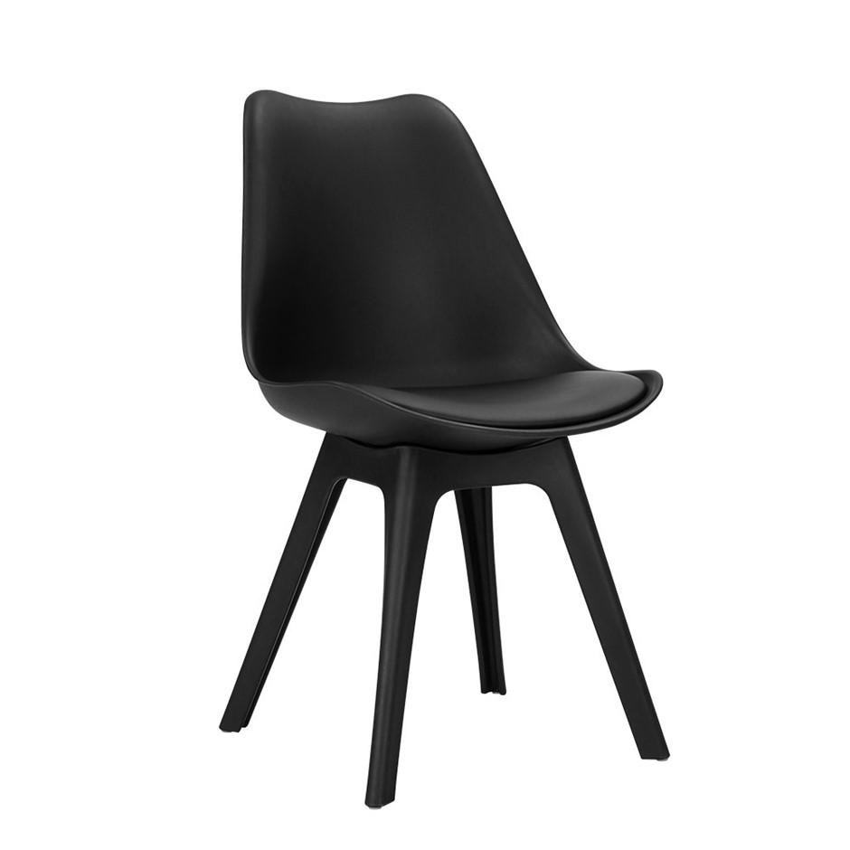 Artiss Set of 4 Retro Padded Dining Chair - Black