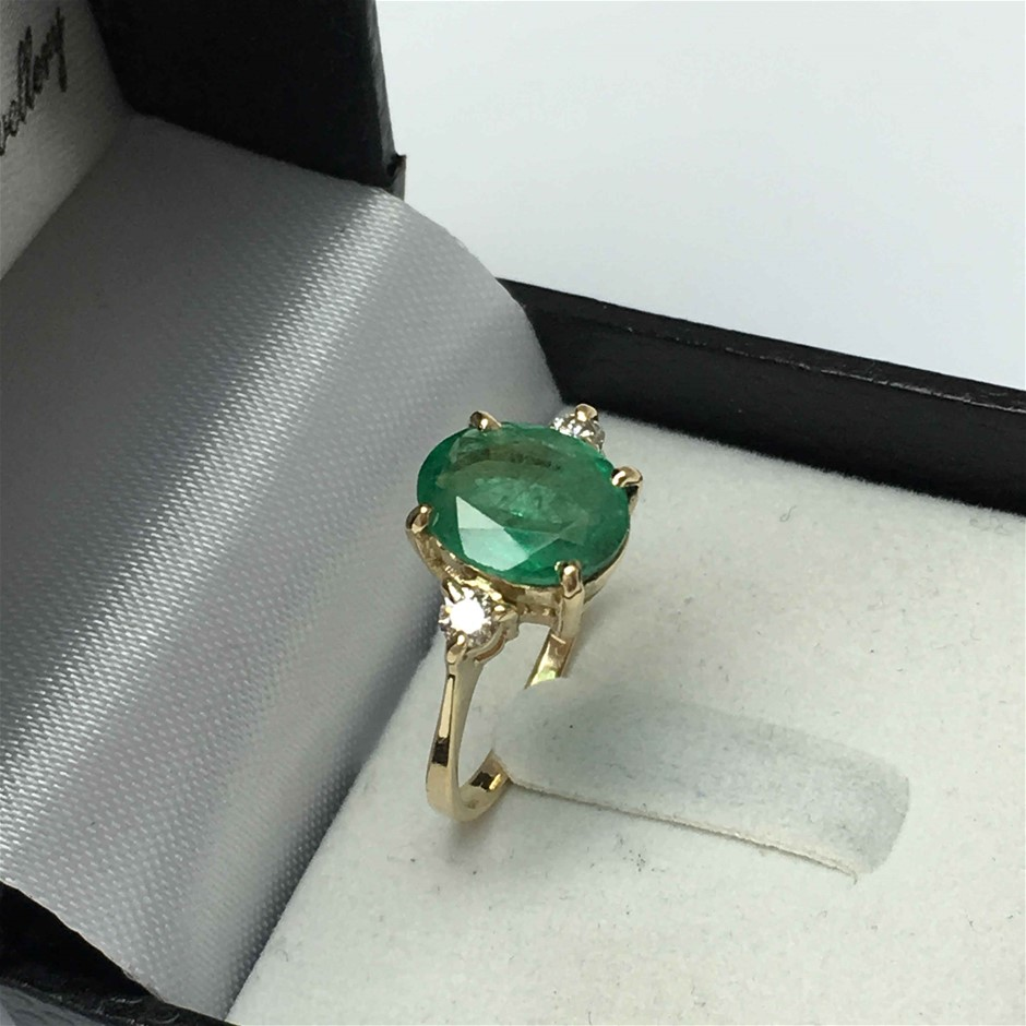 18ct Yellow Gold, 2.36ct Emerald and Diamond Ring