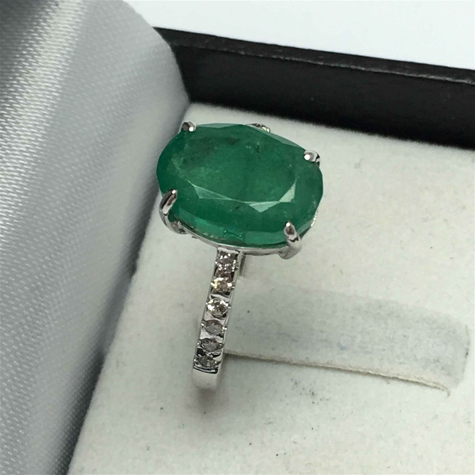 18ct White Gold, 3.55ct Emerald and Diamond Ring