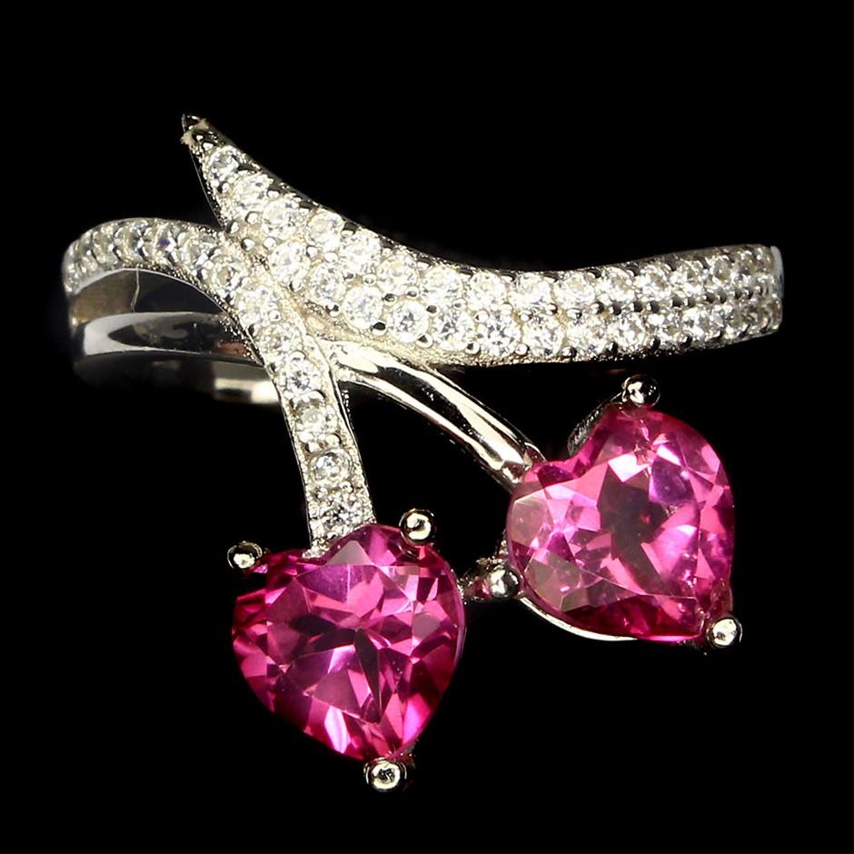 Delightful Genuine Hot Pink Topaz Heart Ring.