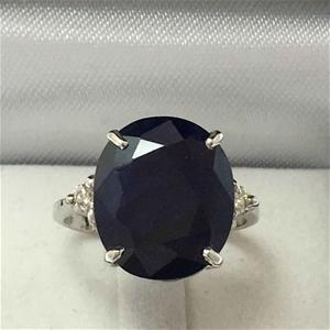 18ct White Gold, 10.12ct Blue Sapphire a