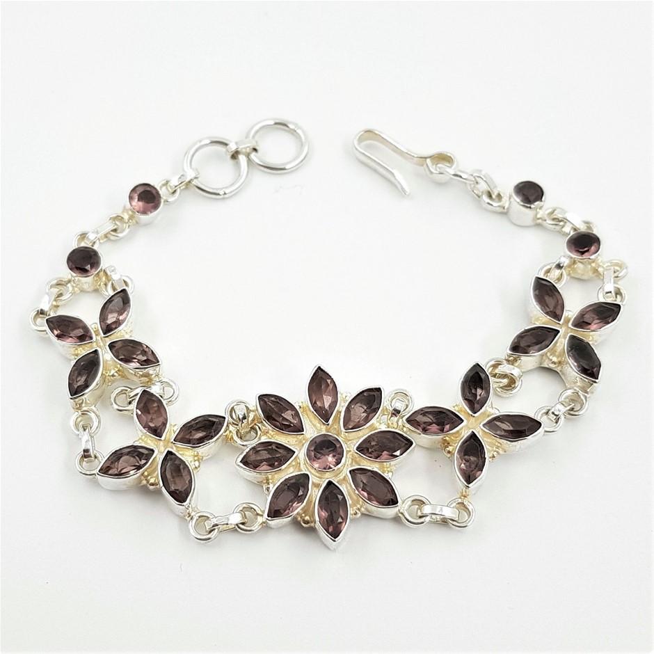 Sterling Silver & Amethyst Gemstone Bracelet.