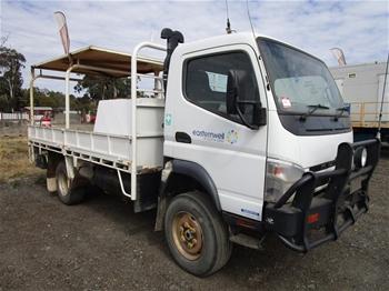 2 x 2011 Mitsubishi Fuso Canter 3.0T 4x4 Tray Body Trucks