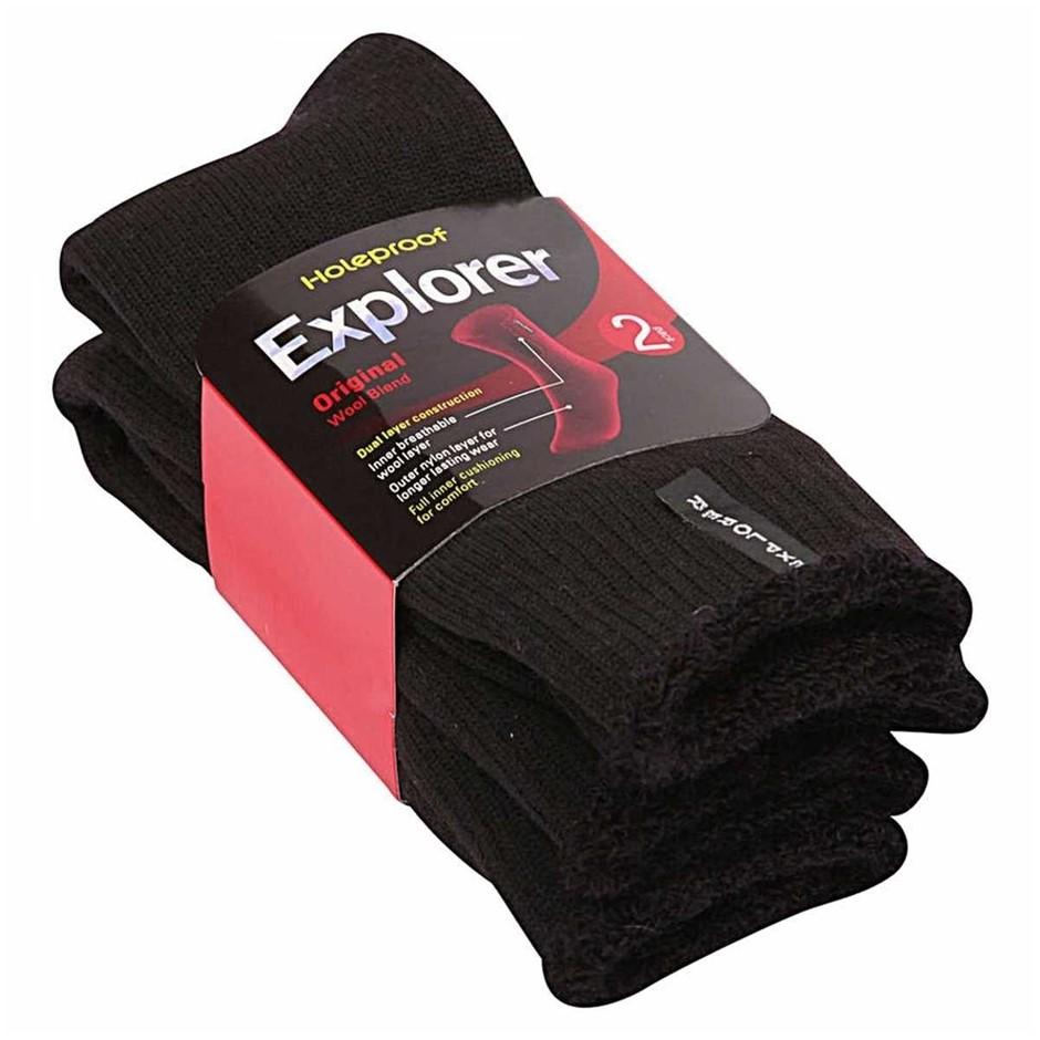 4 Pairs x HOLEPROOF Explorer Wool Bend Socks, Size 11-14. Black. Buyers Not