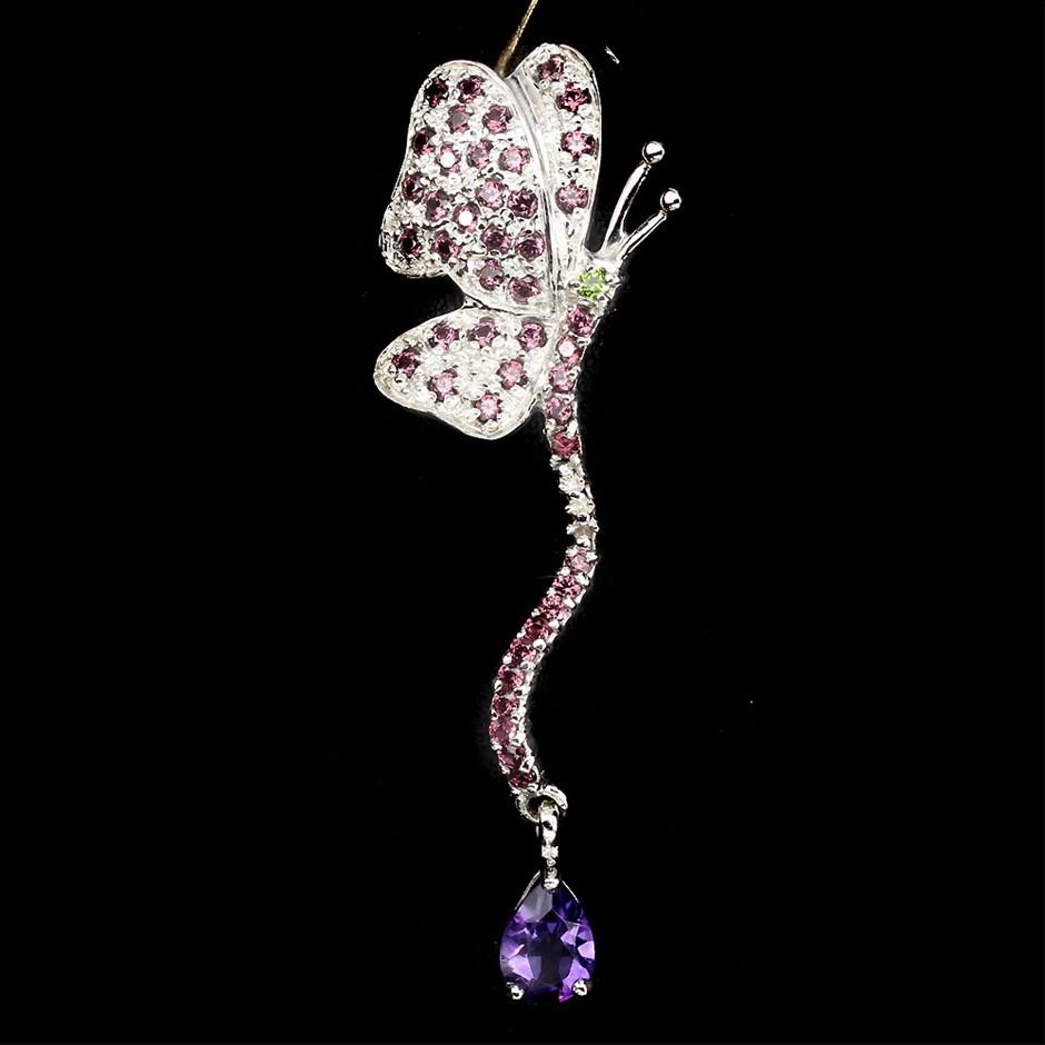 Unique Genuine Amethyst & Garnet Butterfly Pendant