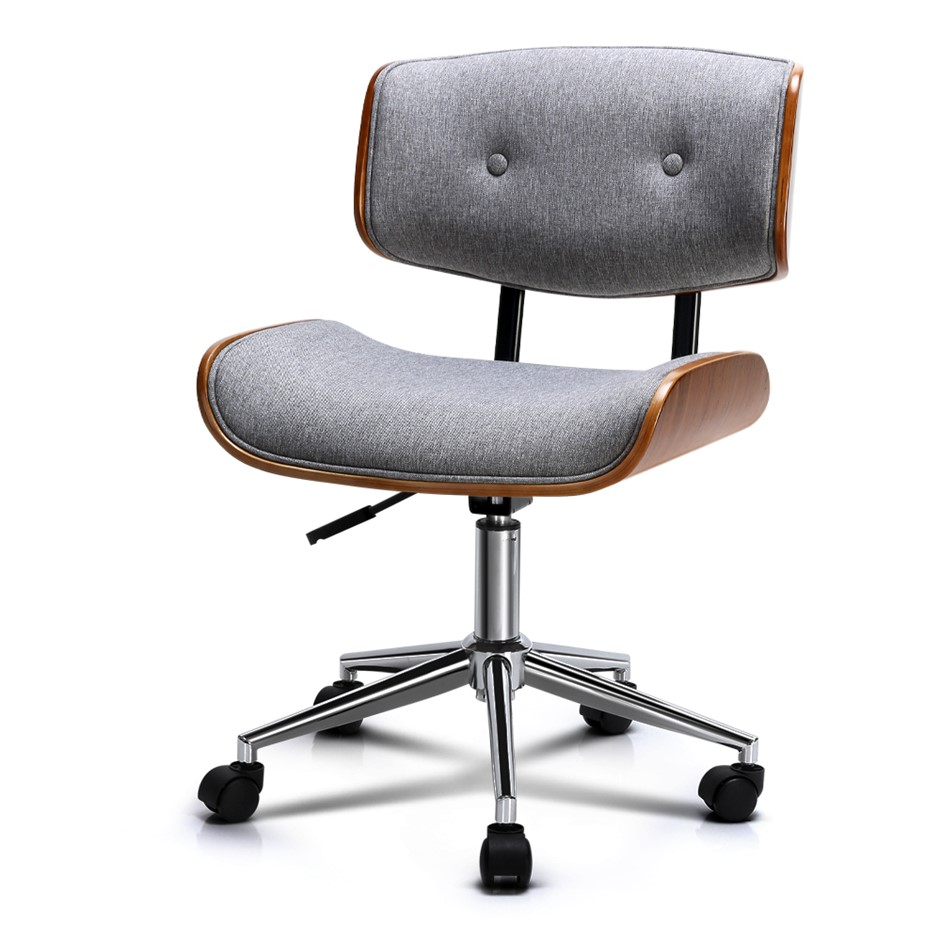 Artiss Executive Wooden Office Chair Fabric Computer Bentwood Seat Grey