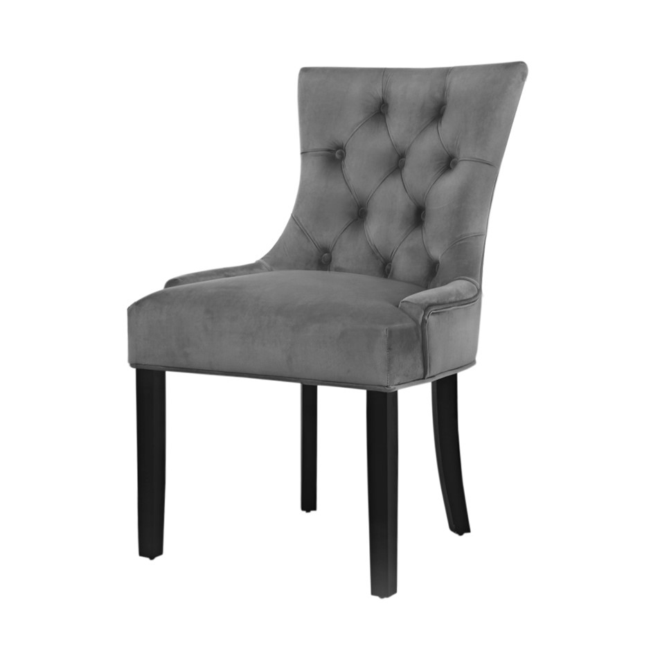 Artiss 2x Dining Chairs French Provincial Chair Wooden Velvet Fabric Grey
