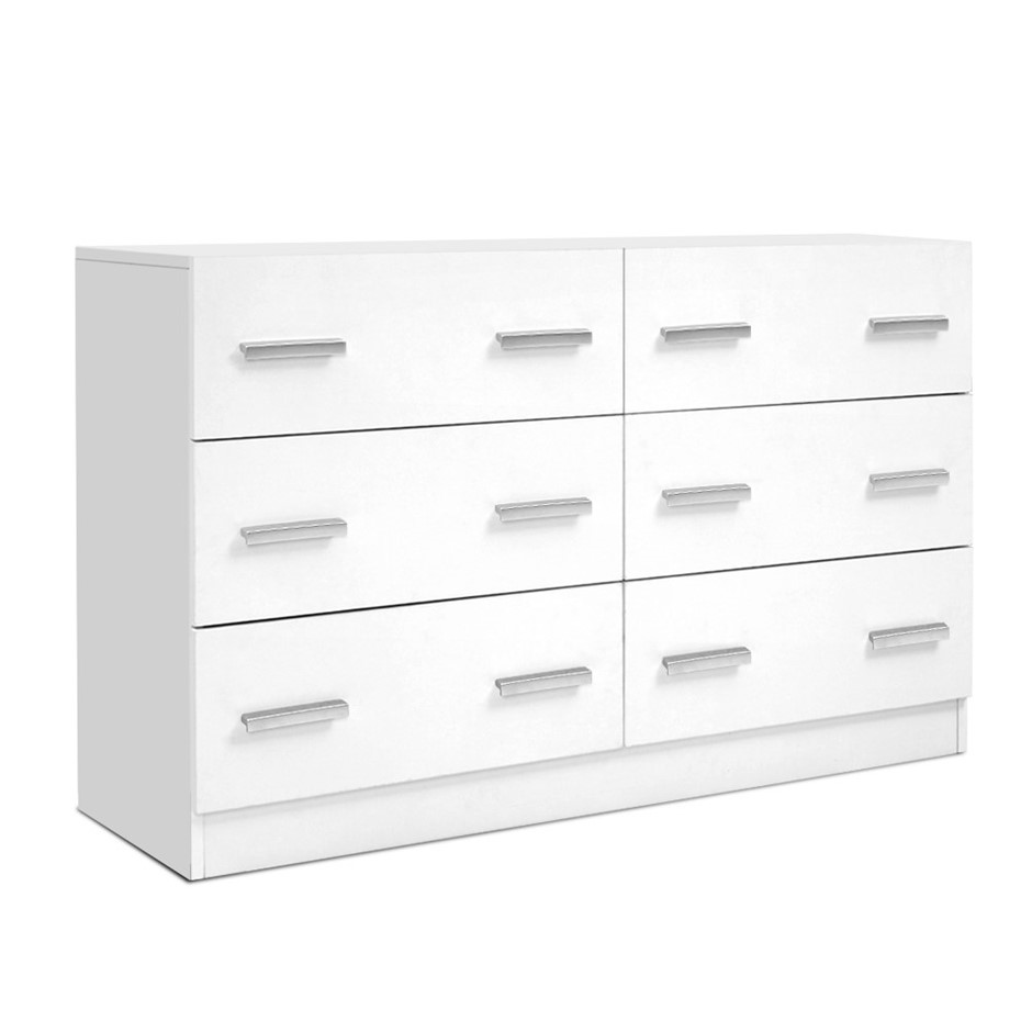 Artiss 6 Chest of Drawers Cabinet Dresser Tallboy Storage Bedroom White