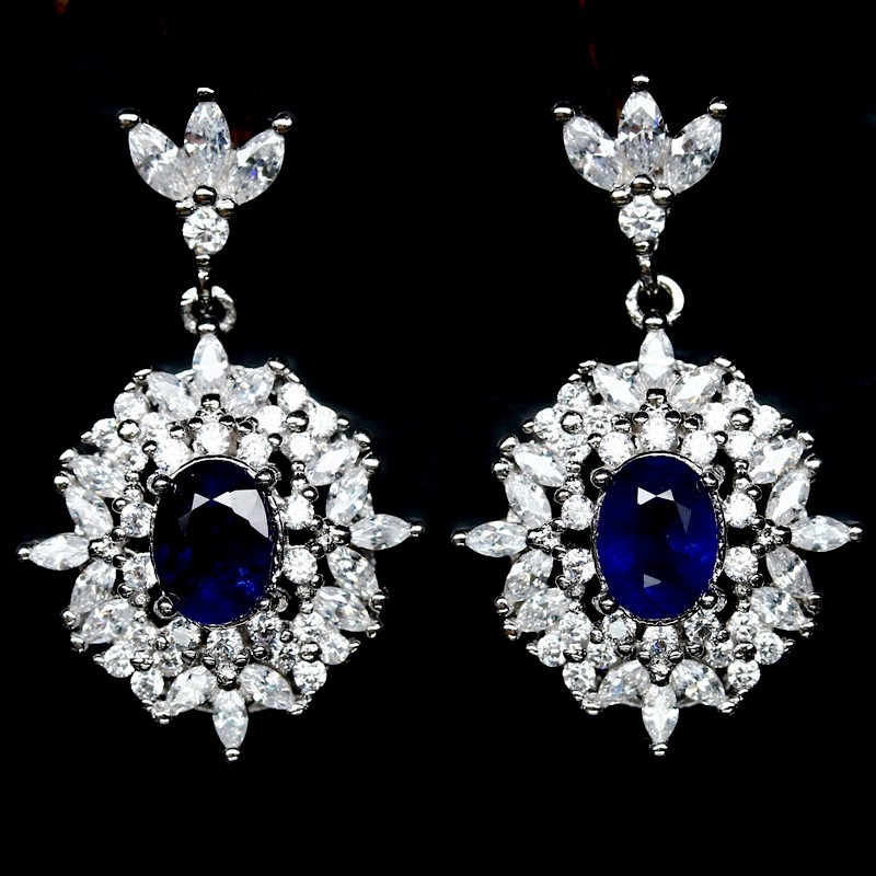 Spectacular Genuine Midnight Blue Sapphire Drop Earrings.