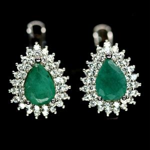 Gorgeous Genuine Emerald Huggie Earrings