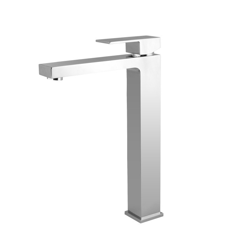 Solid Brass Square Chrome Tall Basin Mixer Tap Vanity Tap Bench Top