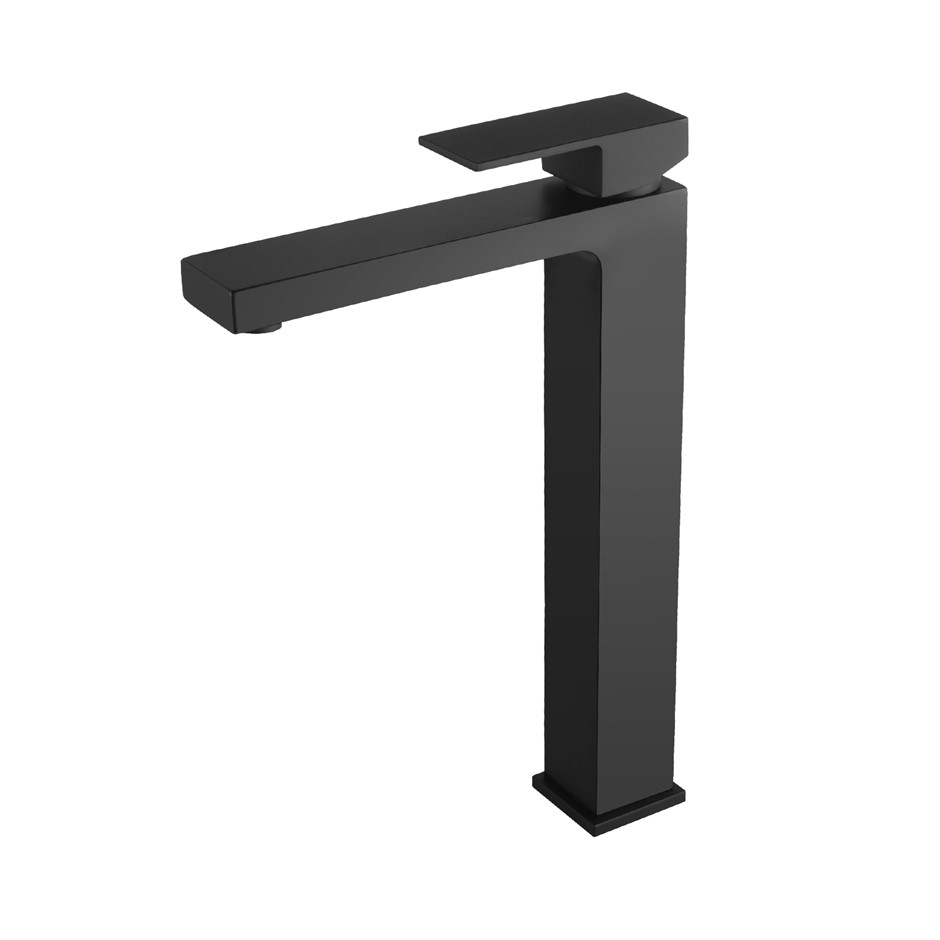 Solid Brass Square Black Tall Basin Mixer Tap Vanity Tap Bench Top
