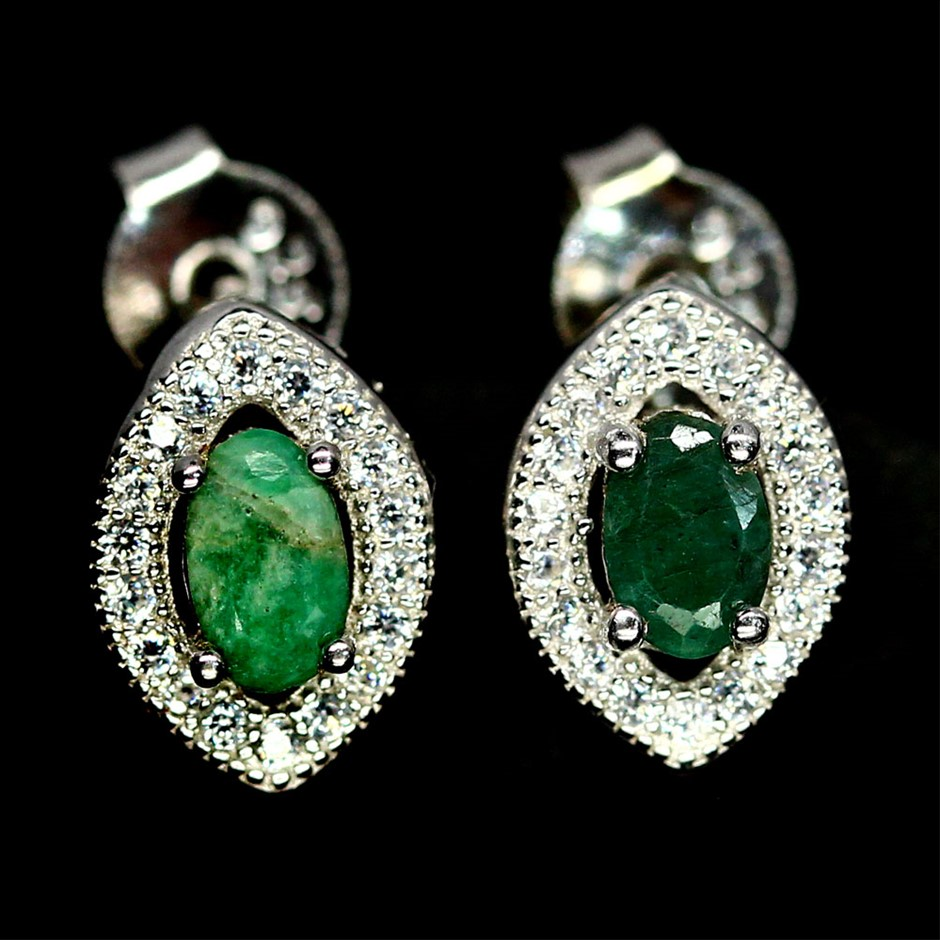 Beautiful Genuine emerald Stud Earrings.