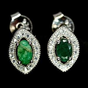 Beautiful Genuine emerald Stud Earrings.
