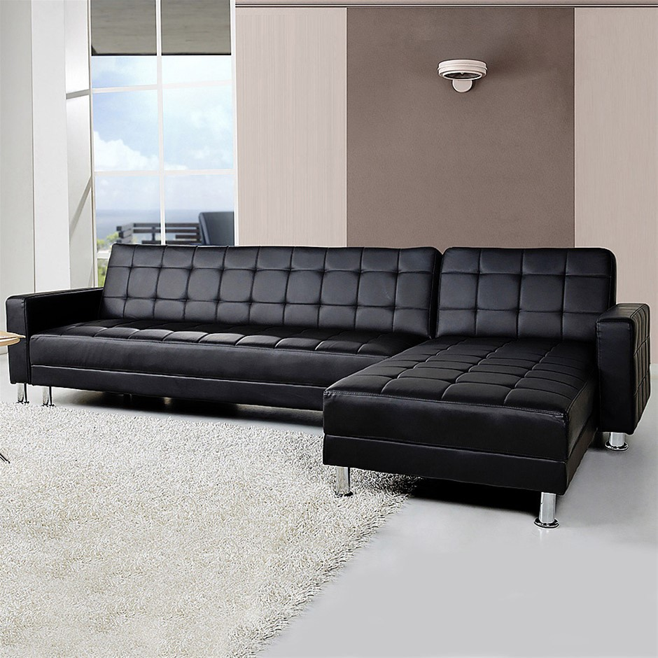 Corner Sofa Lounge with Chaise - Black Faux Leather