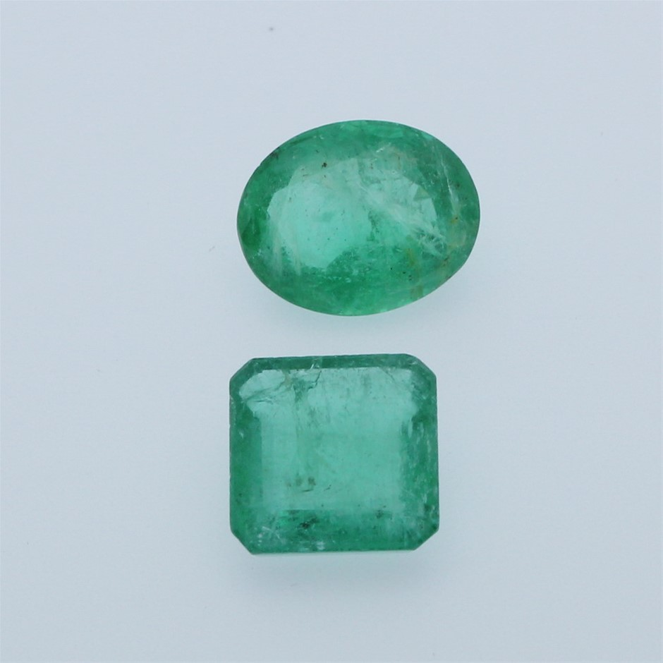 Two Loose Emerald, 9.25ct in Total