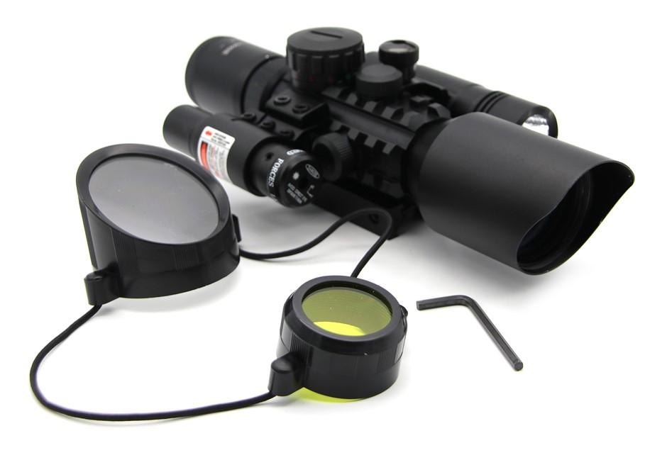 3-10X42E M9C Hunting Riflescope Tactical Optics Laser & Torch