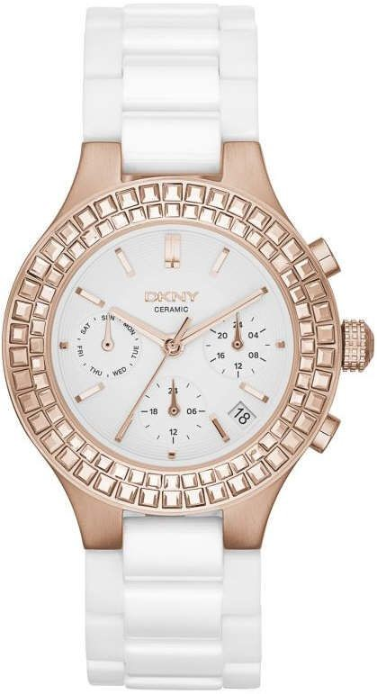 Chic new DKNY Chambers rose gold tone ladies watch.