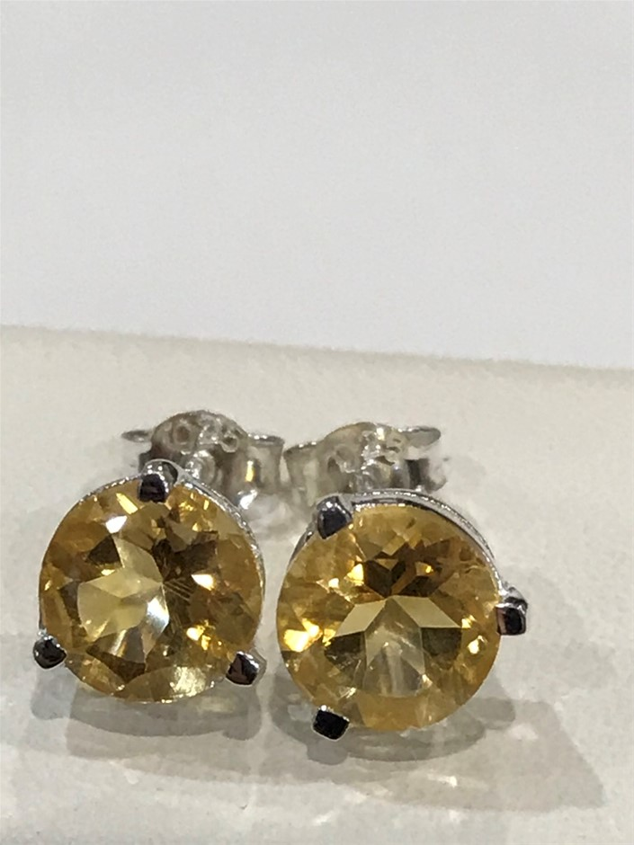 Stunning Genuine 3.20ct Golden Citrine Stud Earrings
