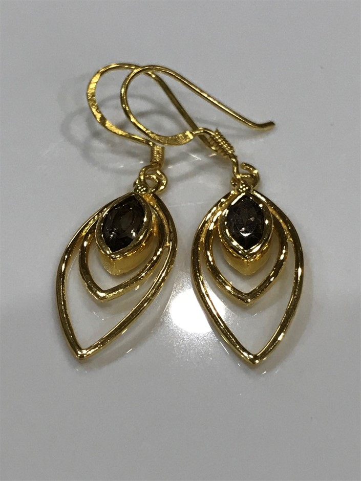 Eye Catching Smokey Quartz & 18K Gold Vermeil Earrings