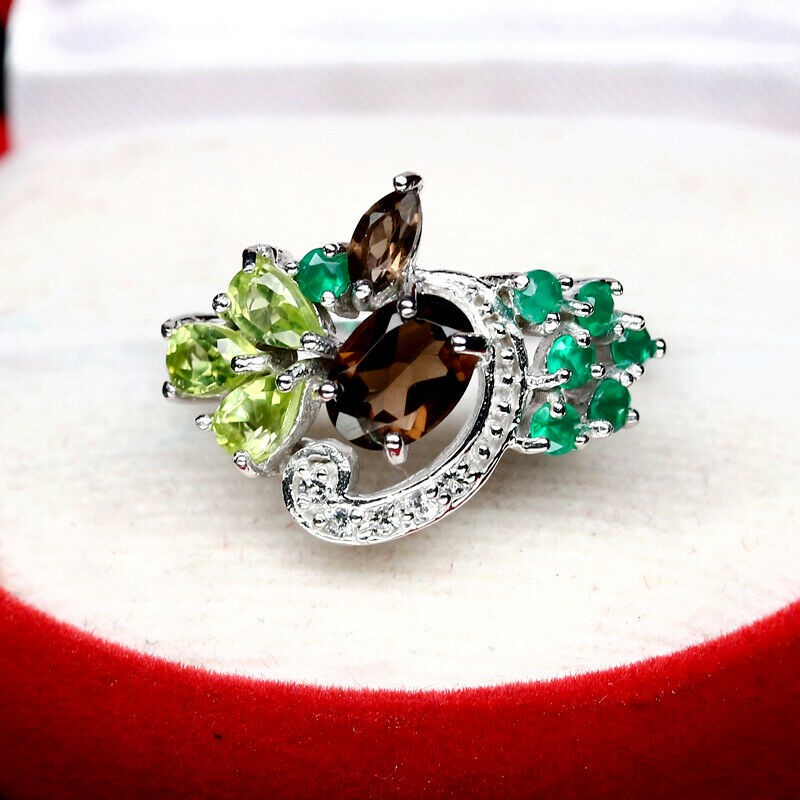 Gorgeous Smoky Quartz, Peridot & Agate Ring Size 'Q'
