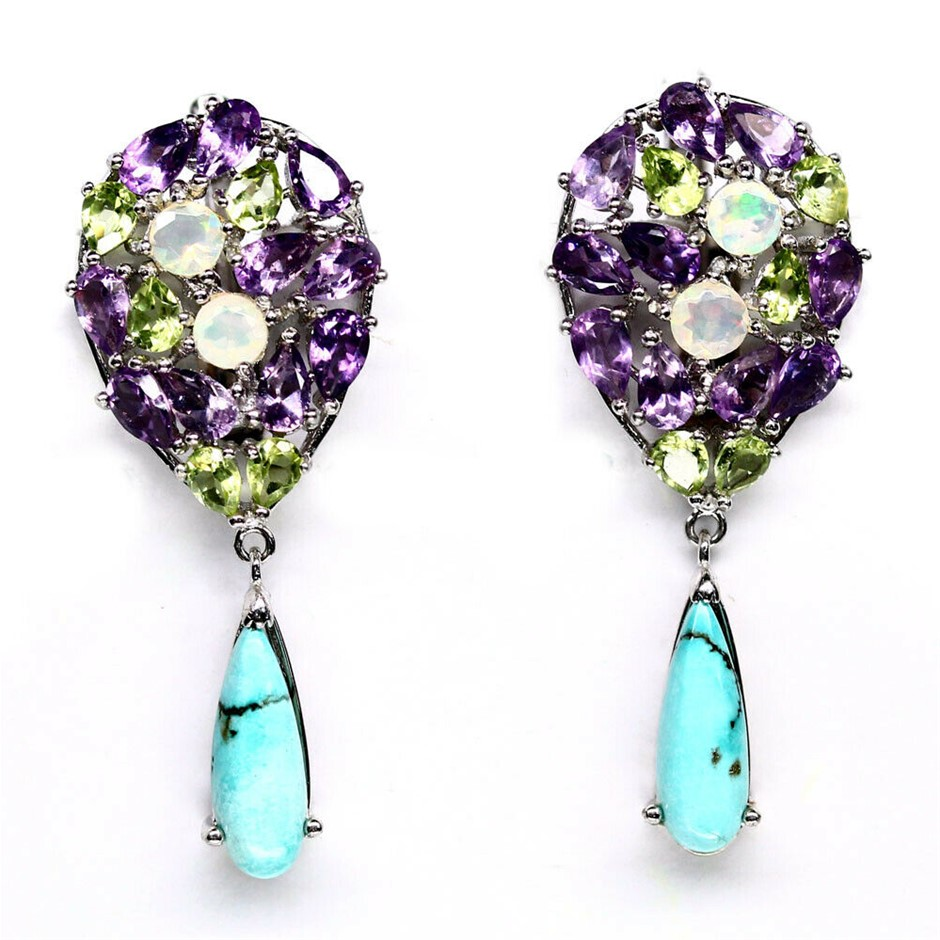 Delightful Amethyst, Peridot, Opal & Turquoise Earrings.