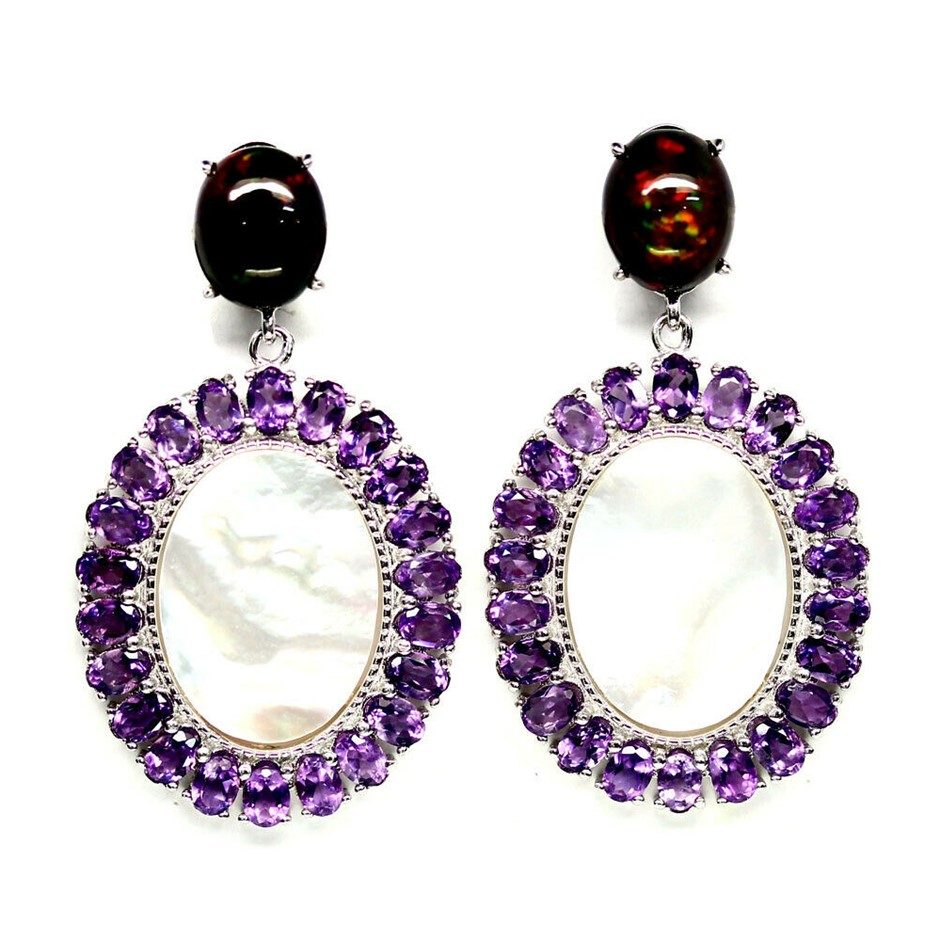 Charming Purple Amethyst, Mother of Pearl & Black Opal Earrings.