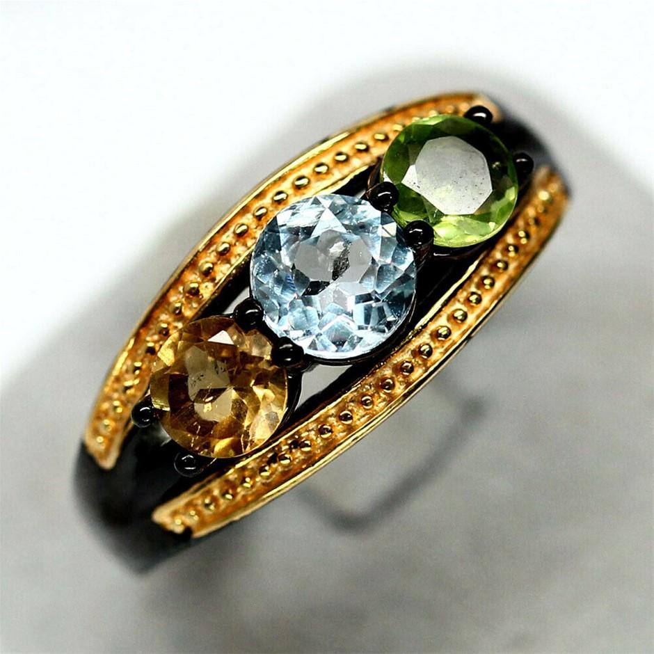 Classy Sky Blue Topaz, Citrine & Peridot Ring. Size 'N'