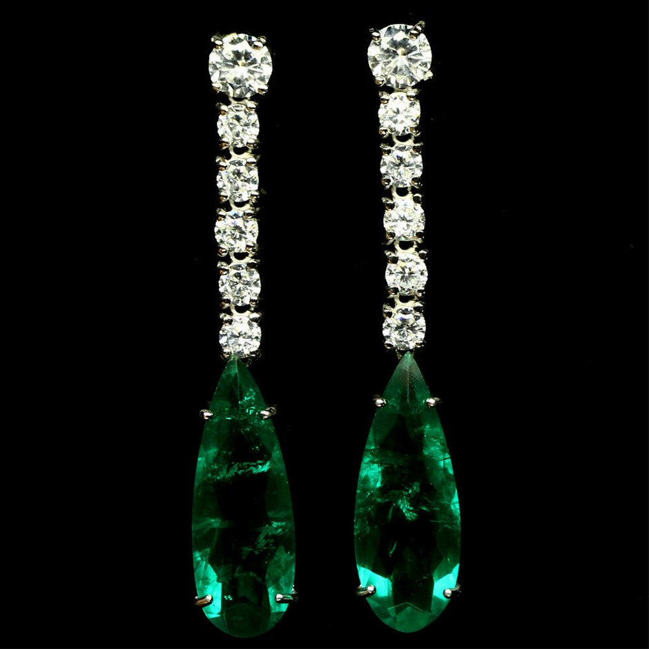 Forest Green Doublet Emerald Earrings.