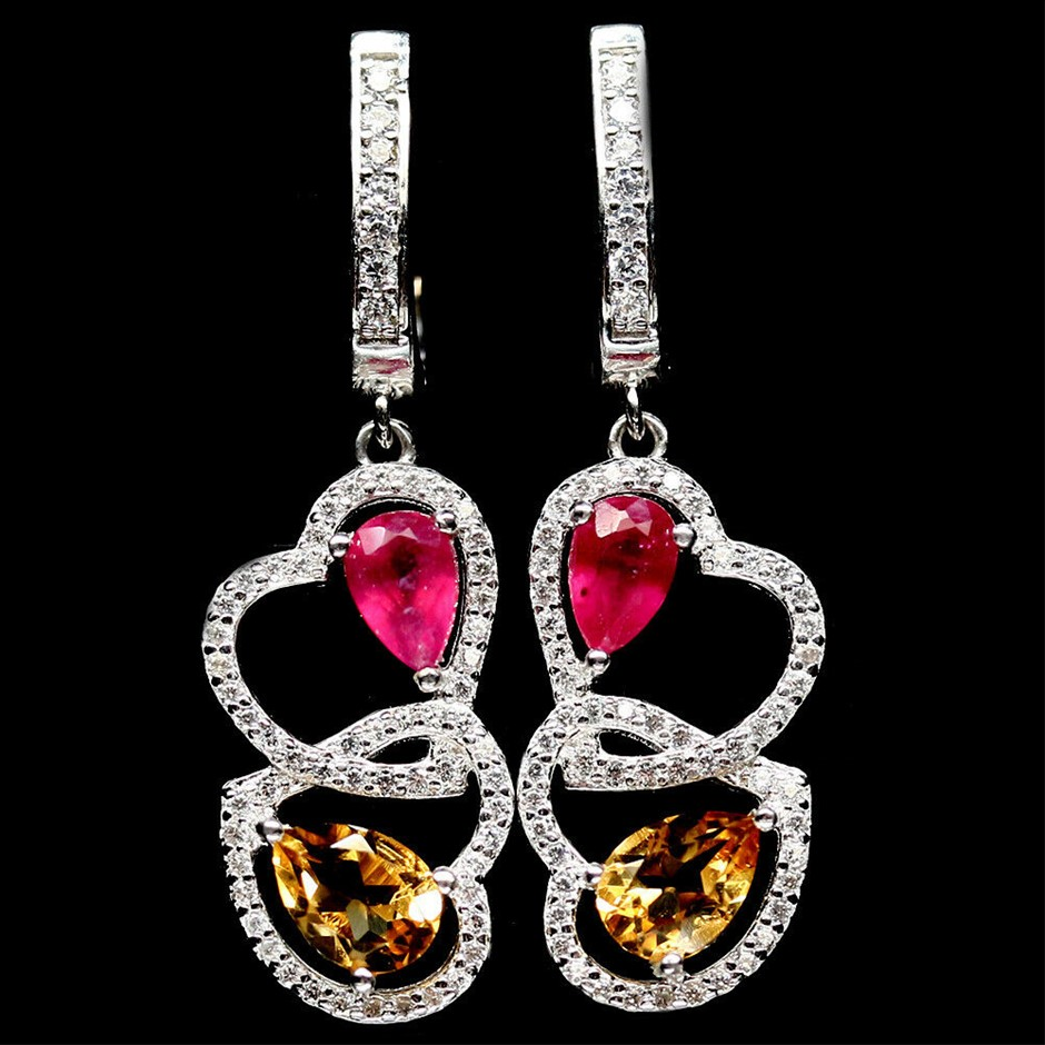 Pear Shape Red Ruby & Golden Yellow Citrine Earrings.