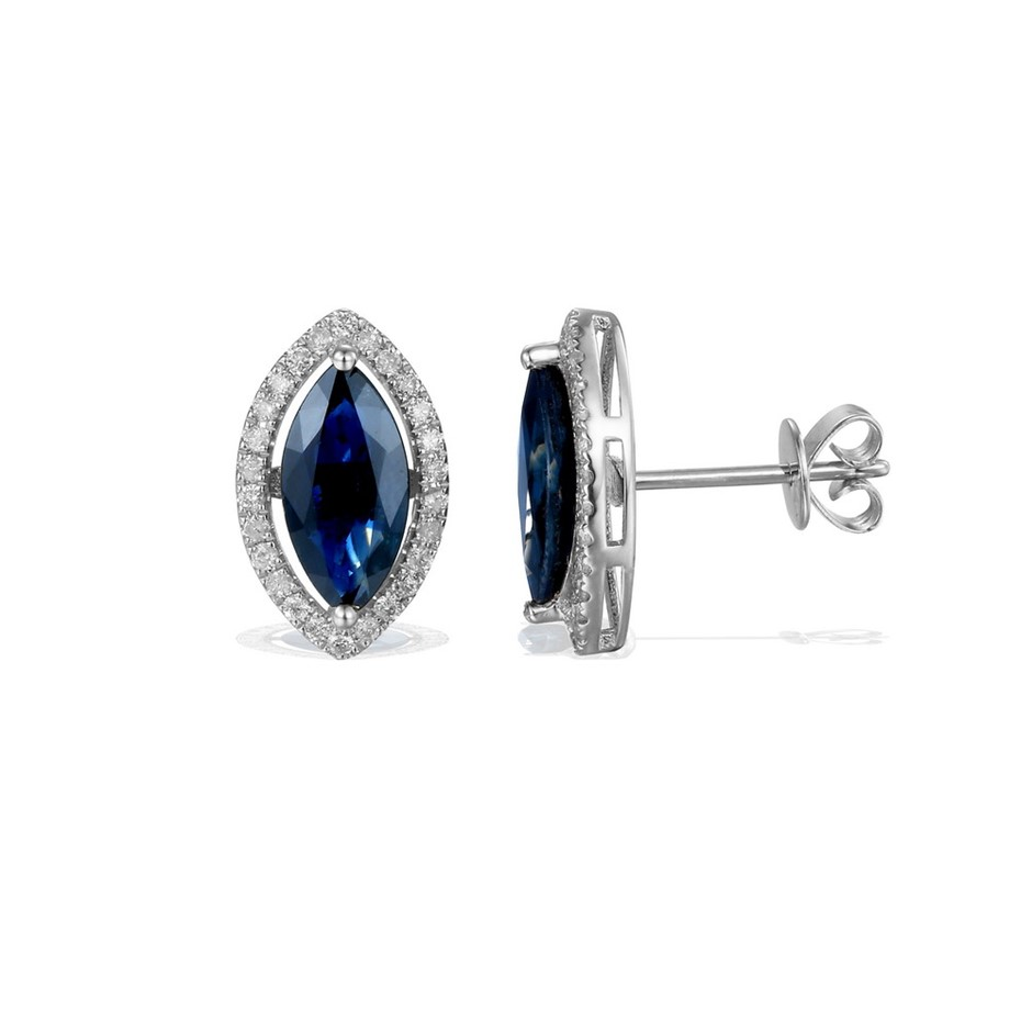 9ct White Gold, 2.65ct Blue Sapphire and Diamond Earring