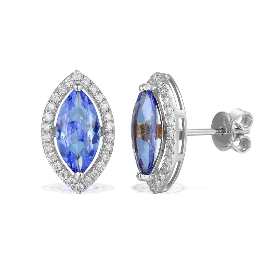 9ct White Gold, 2.17ct Tanzanite and Diamond Earring