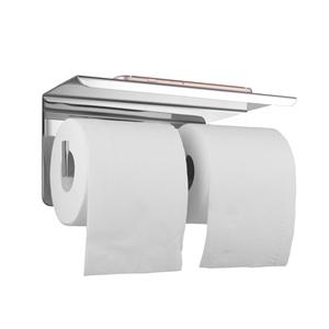Chrome Double Toilet Paper Holder Stainl