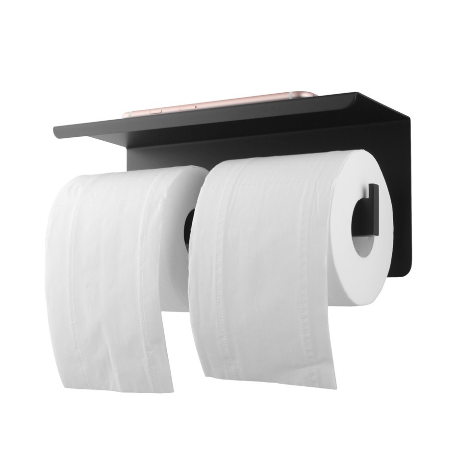 Black Double Toilet Paper Holder Stainless Steel Wall Mounted
