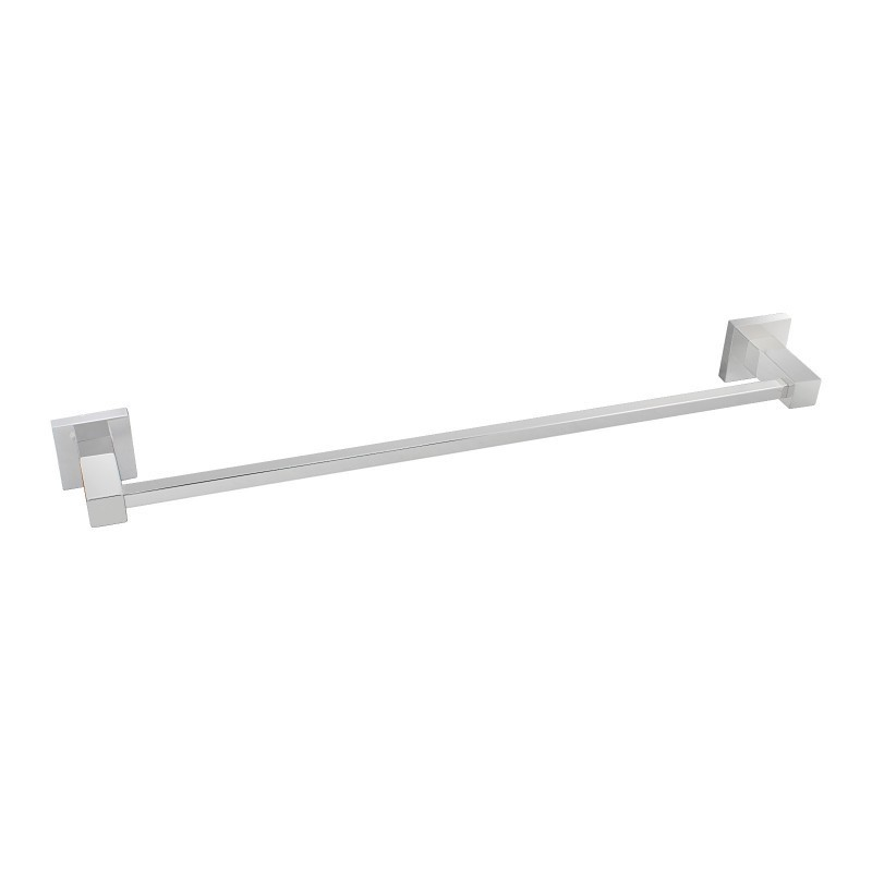 Square Chrome Single Towel Rail 800mm Stainless Steel Wall Mounted