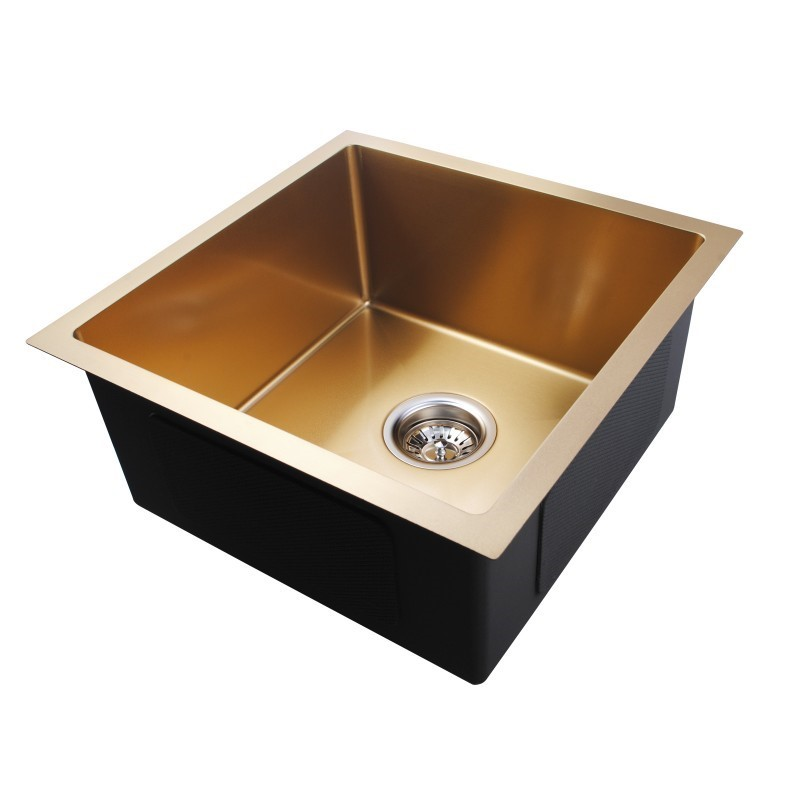 Round Corner Stainless Steel Brushed Yellow Gold Single Bowl Top