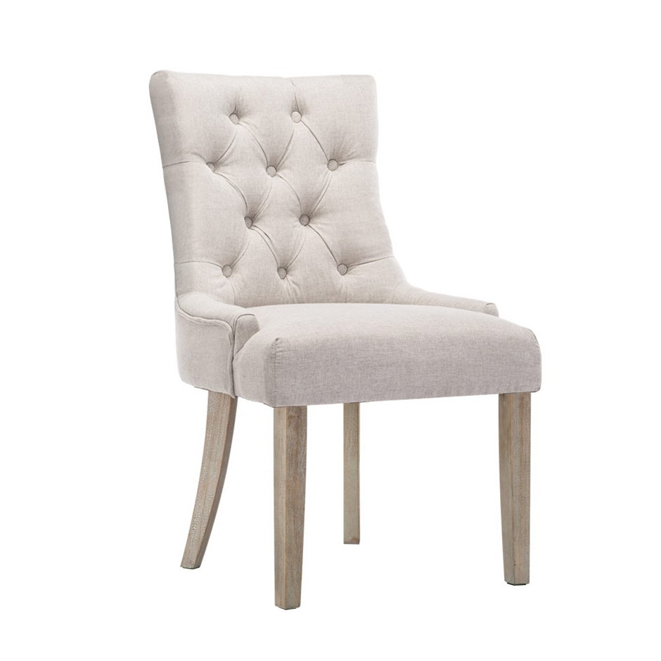 Artiss 2x Dining Chair CAYES French Provincial Chairs Wooden Fabric Retro