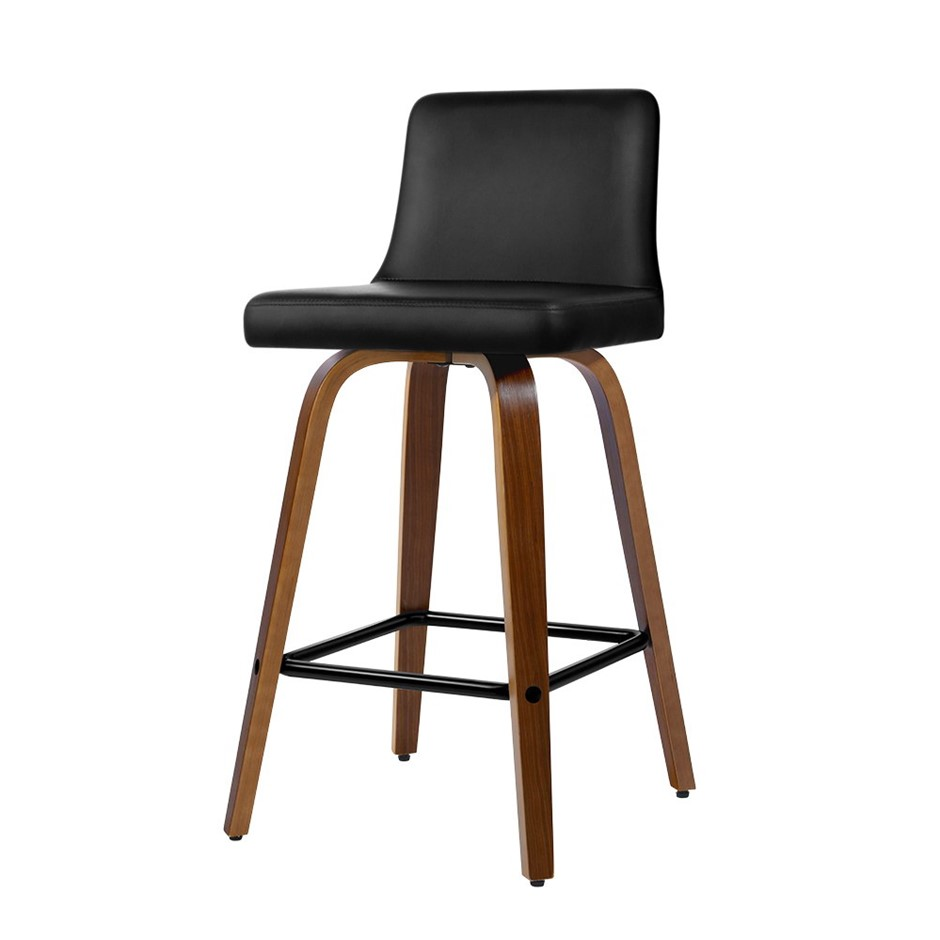Artiss 2x Wooden Bar Stools Swivel Bar Stool Chairs Leather Luxury Black