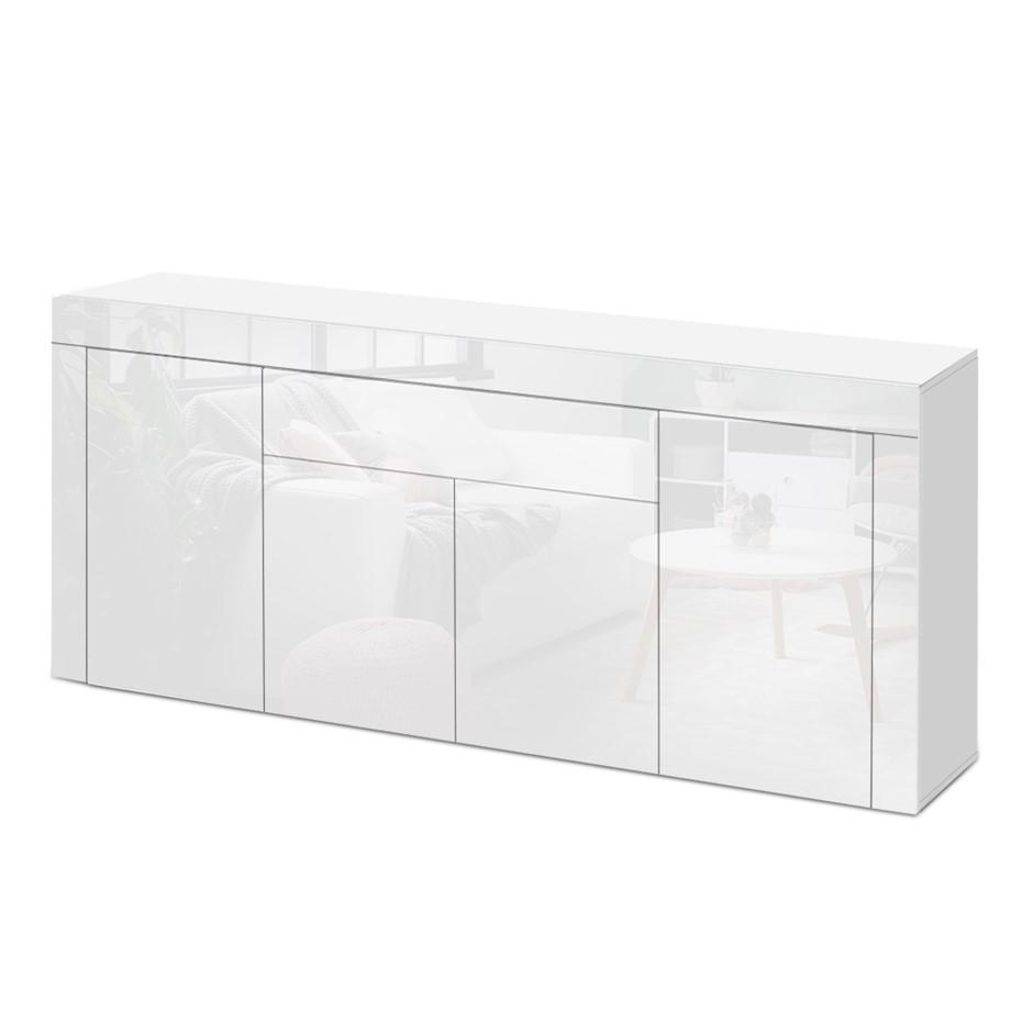 Artiss Buffet Sideboard Cabinet High Gloss Storage 4 Doors Cupboard White