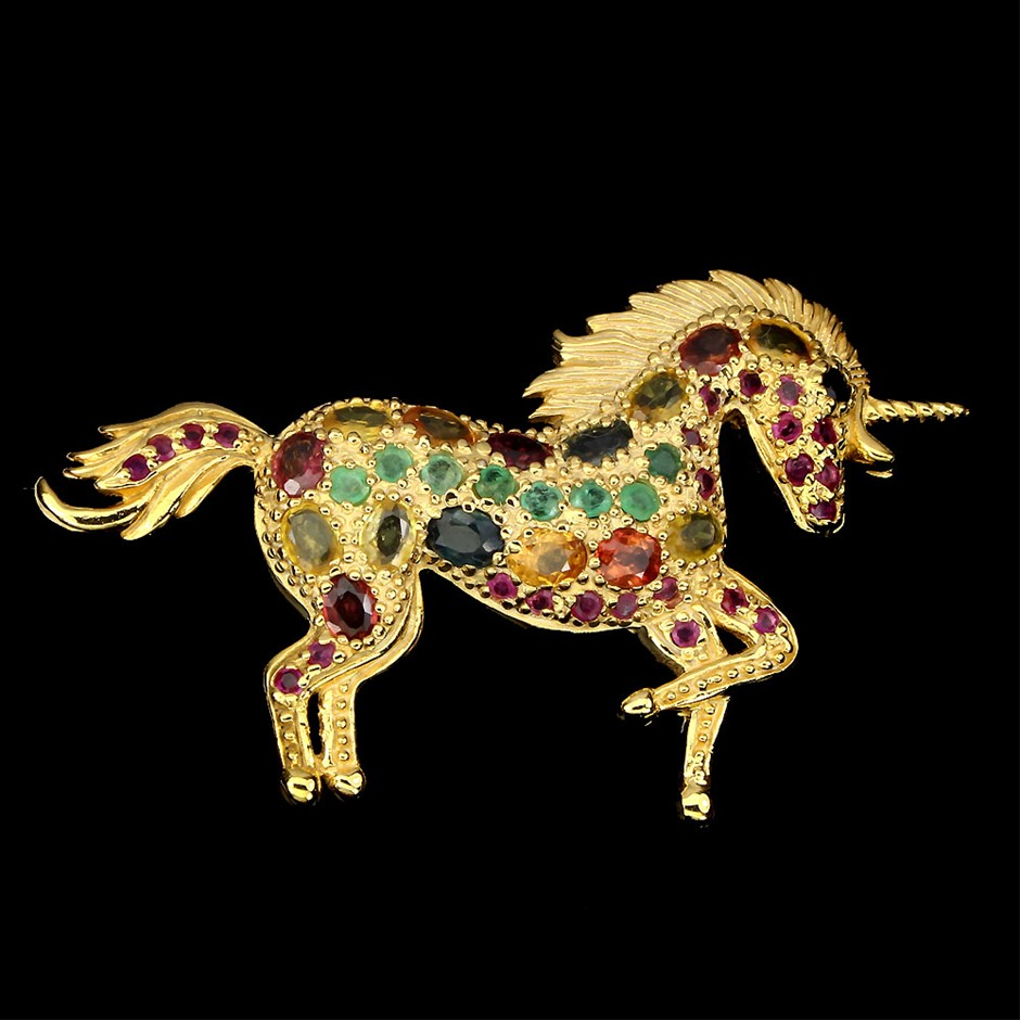 One Of A Kind Genuine Sapphire Emerald Ruby Unicorn Brooch.