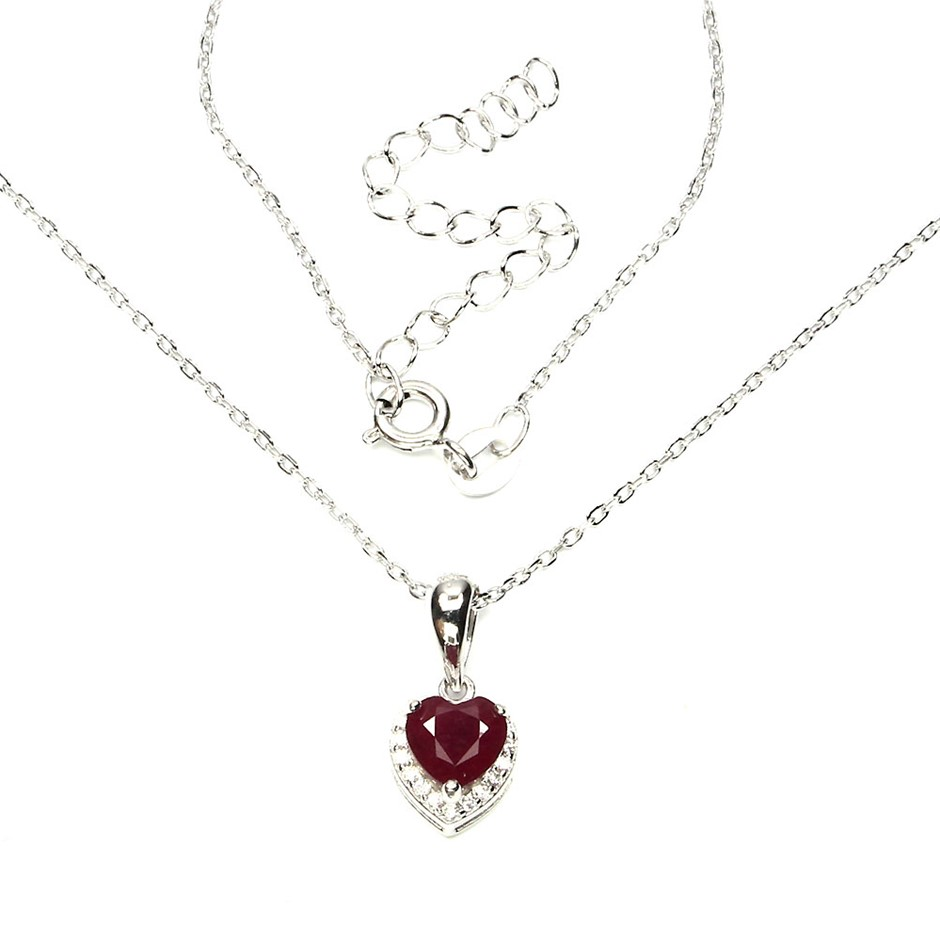 Delightful Genuine Blood Red Ruby Heart Pendant & Chain