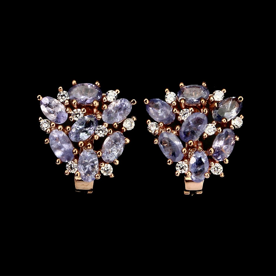 Striking Genuine Tanzanite Cluster Earrings