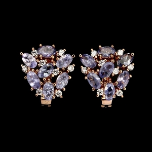 Striking Genuine Tanzanite Cluster Earri